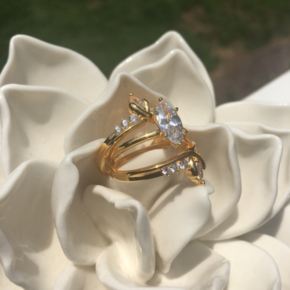 Jewelry - Gold plated SS 3 piece Bridal Set - Size 7